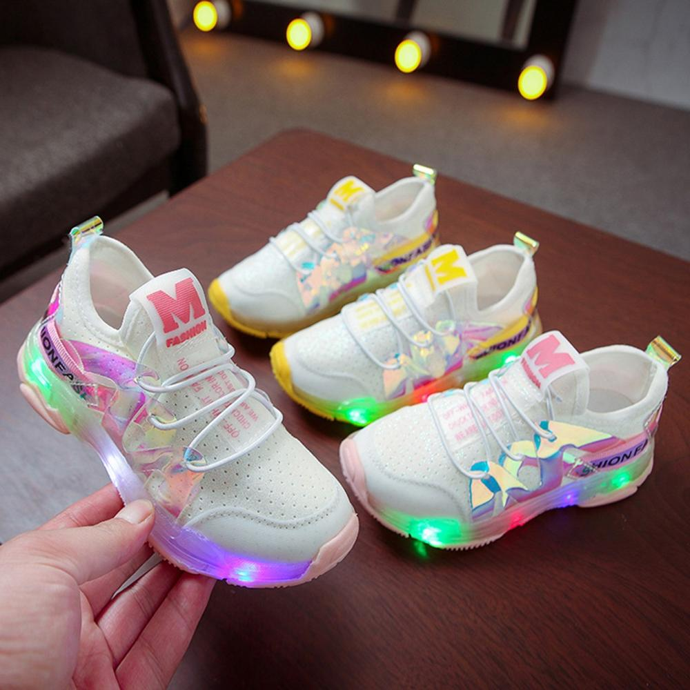2020 New Fashion Children Kid Baby Girls Boys Sport Mesh Letter Flashing Led Luminous Sport Run Sneakers Shoes Kids LED Sneakers