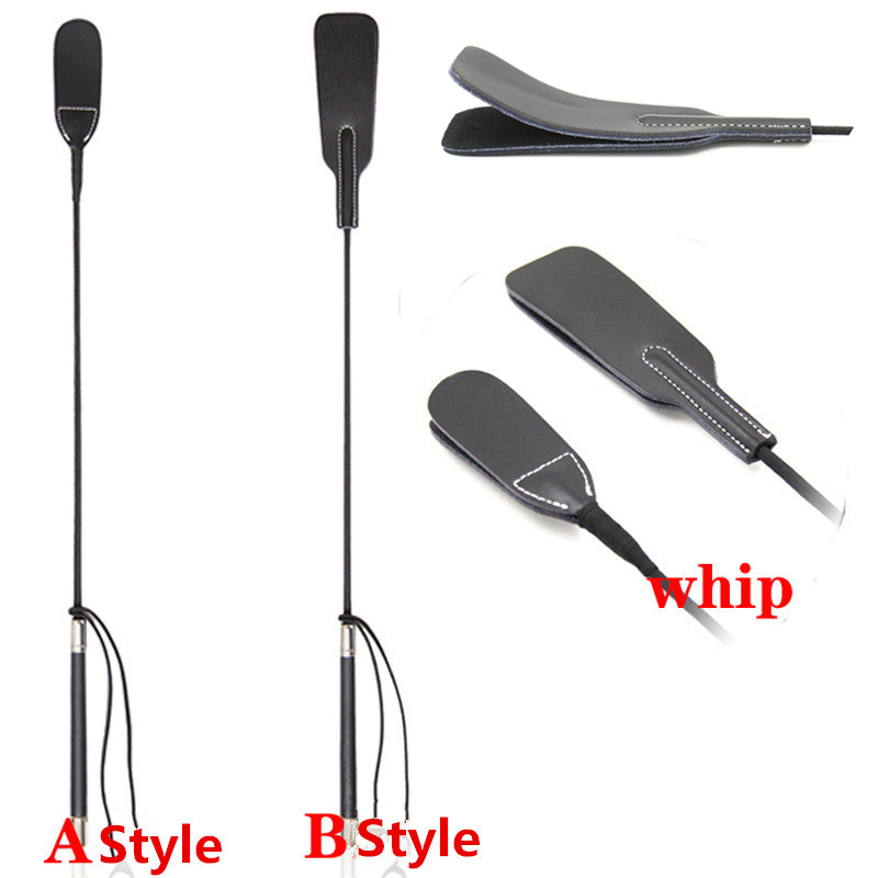 Fetish Double Layer Genuine Leather Riding Crops Spank Paddle Whip for Couples to Bdsm Bondage <font><b>Slave</b></font> Role Adult Game Sex Product image