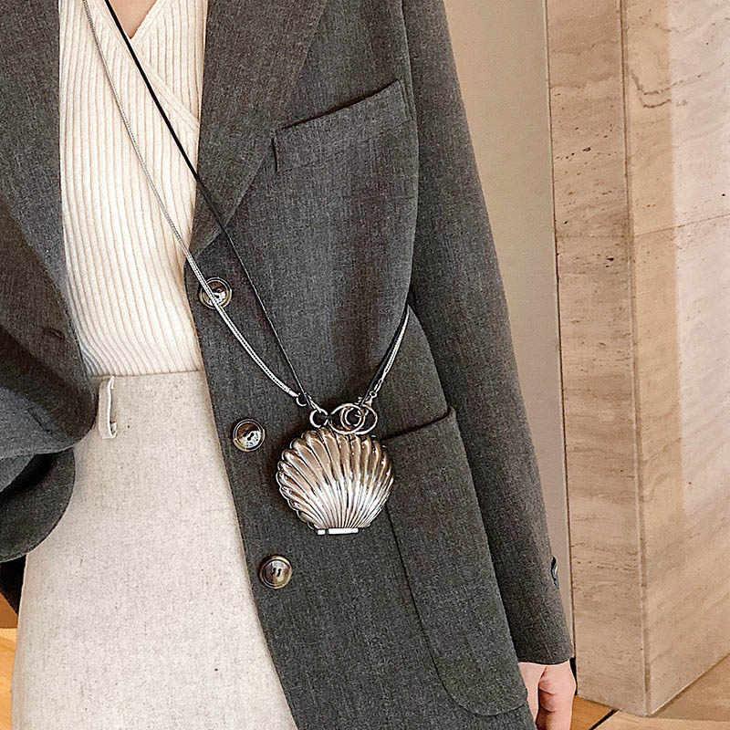 Mode Metalen Shell Vrouwen Schoudertassen Designer Zilver Messenger Bag Luxe Kettingen Crossbody Tas Dames Mini Portemonnees Vrouwelijke Sac