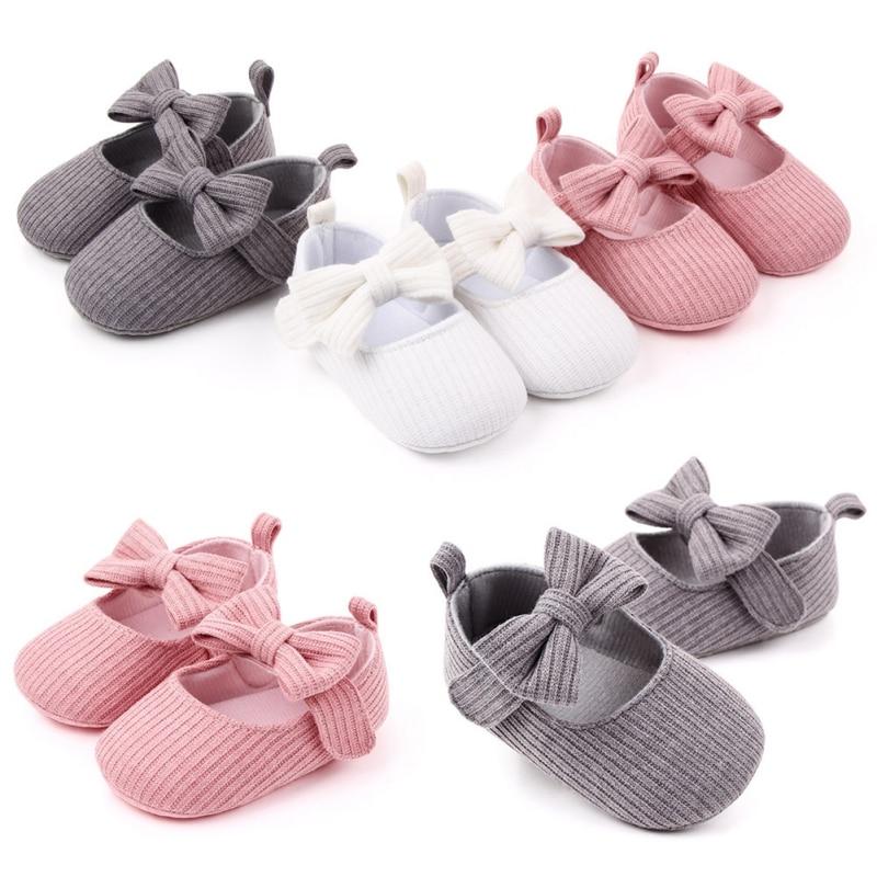 2020 Children Spring Shoes Newborn Infant Baby Girl Boy Soft Crib Shoes Infants Anti-slip Sneaker Solid Bow Prewalker 0-18M