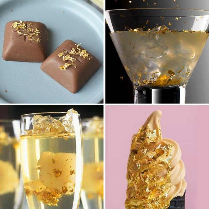 10 Pcs אכיל 24K זהב עלה גיליונות 8X8 Cm טהור אמיתי פנים אכיל זהב עלה לבישול עוגות & שוקולדים קישוט