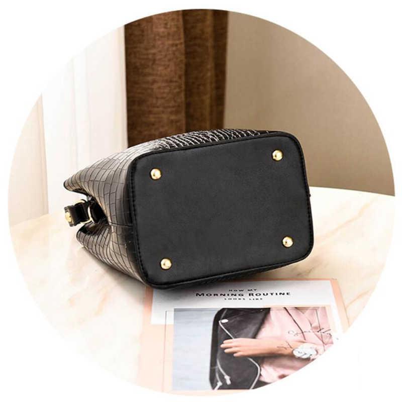 DIHOPE 2020 Retro kova çanta kadın desen çanta yüksek kapasiteli rahat timsah omuz askılı postacı çantaları bayan PU çanta