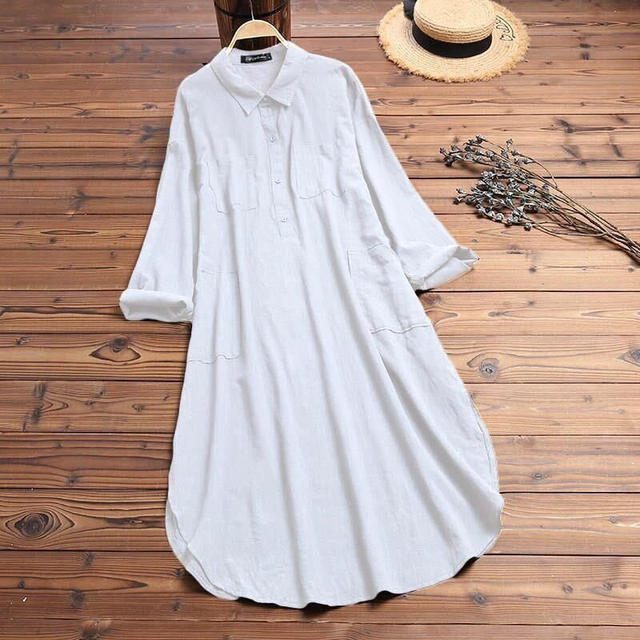 2021 Lady Elegant Long Shirt Dress Fashion Spring/Autumn Long Sleeve Casual Simple Pure Color S-4XL Women Dress 6