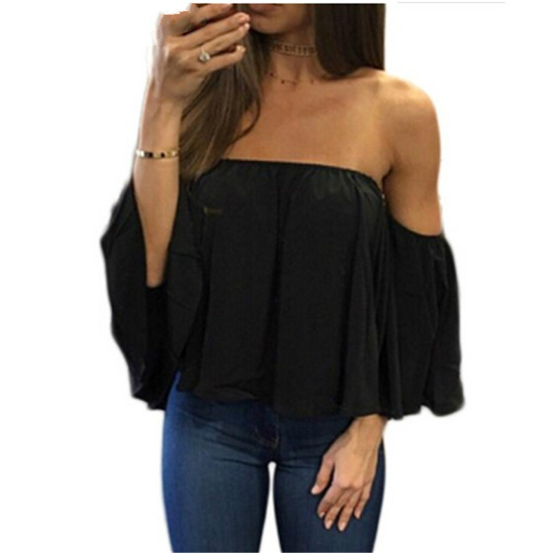5XL New Womens Tops Fashion 2019 Women Summer Chiffon Blouse Sexy Off Shoulder Flare Sleeve Casual Shirt Black White Plus Size