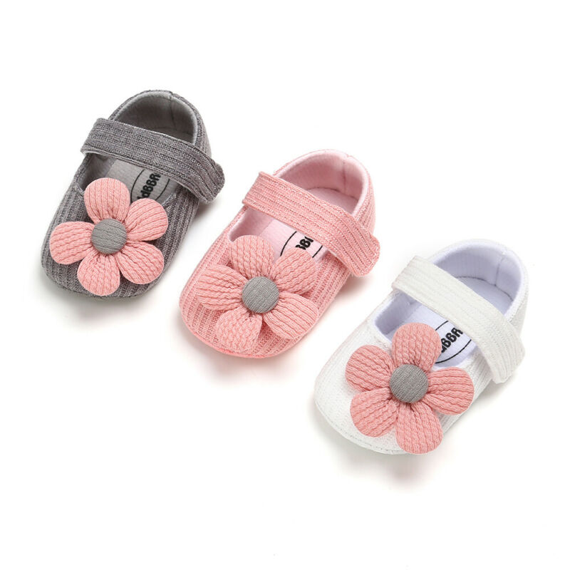 Fashion Baby Boy Girl Unisex Soft Sole Crib Shoes Flower Cotton Hook Loop Prewalker Shoes