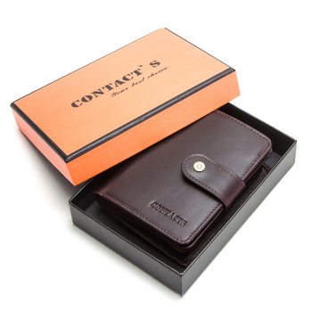 Contact's Genuine Leather Wallets Women Men Wallet Short Small Rfid Card Holder Wallets Ladies Red Coin Purse Portfel Damski 17