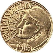 Gola-Banhado EUA 1915 Dólares 1 24-K Francos coin copy 15mm