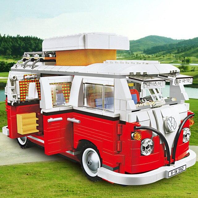 1354 قطعة سلسلة تكنيك T1 شاحنة التخييم 10220 نموذج اللبنات مجموعات مجموعة الطوب اللعب 21001 كتل