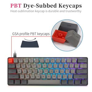 Image 3 - RGB LED Backlit Wired Mechanische Tastatur, Tragbare Kompakte Wasserdichte Mini Gaming Tastatur 61 PBT Tastenkappen Gateron Switcs