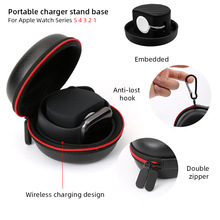 Portable Charger Stand Base Zipper Box for Apple Watch Series 5 4 3 2 1 Travel Hard Protective for Airpods Bag Storage Cover
