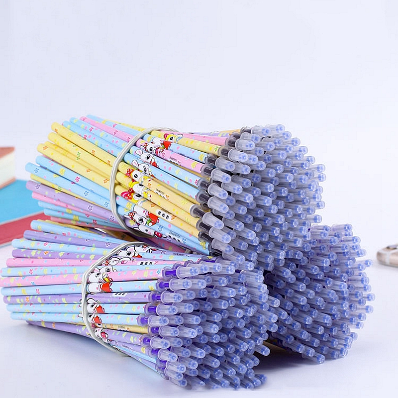 20Pcs/Set Kawaii Rabbit Office Gel Pen Erasable Washable Handle Erasable Pen Refill For School Stationery Writing Tool 0.5mm Pen