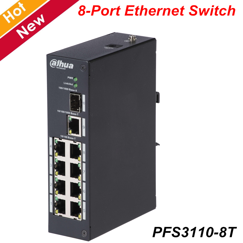 Original Dahua 8-Port Ethernet Switch 2-Layer Industrial Level Switch 100M/1000M Self-adaptive SFP Fiber Port PFS3110-8T