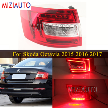 MIZIAUTO Rear tail light For Skoda Octavia 2015 2016 2017 Brake Light Rear Bumper Light Warning Light Fog lamp Stop Lamp