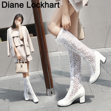 Fashion Women Knee High Boots Mesh Breathable Round Toe Shoes Sexy High Heels Woman Lace Up Boots Summer Female 35 36 37 42