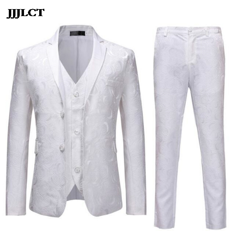 European and American style fashion banquet dress three-piece men's spring new suit