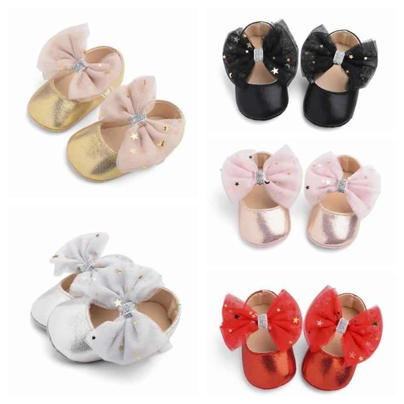 Infant Soft Sole First Walkers Big Bow Baby Shoes Baby Girls Princess Shoes PU Leather Soft Bottom Toddler Shoes 2019