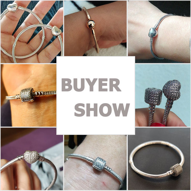 TOP SALE Pulseira Bracelet Femme 925 Sterling Silver Heart Snake Chain Bracelet For Women Fit Original Charm Beads Jewelry Gift 2