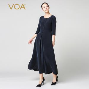 VOA Dress Slim Maxi Women Clothing Navy-Blue Plus-Size Simple Elegant Vintage Silk A-Line
