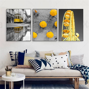 Black and Yellow Difference Art Poster Retro Landscape Canvas Painting Cable Car Ferris Wheel Umbrella Home Decoration Wall Art image