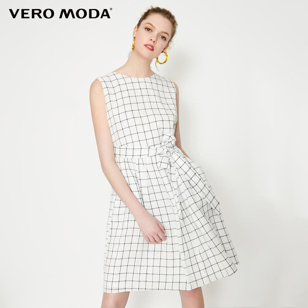 Vero Moda Women's OL Style Plaid Sleeveless Dress | 31927A514