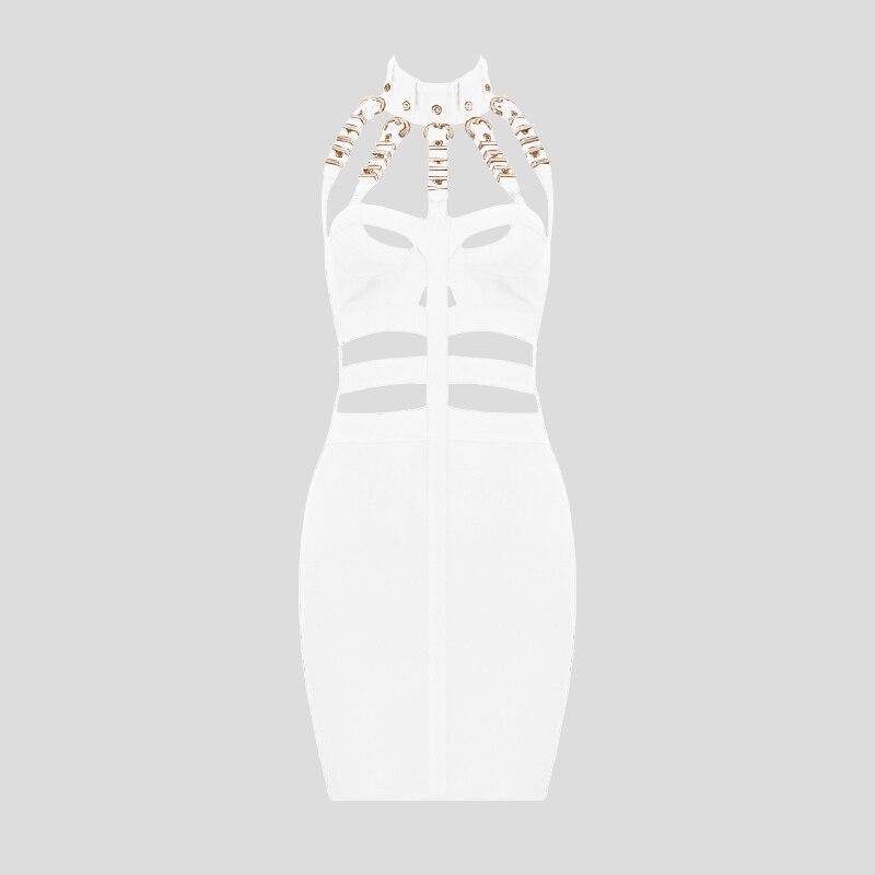 Image 5 - Women Luxury Sexy Eyelet Cut Out Black Bandage Dress 2018 Knitted Elastic Party DressDresses