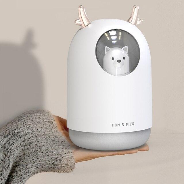 Humidificador USB lindo Pet ultrasónico Aroma de niebla fría difusor de aceite de aire LED luz nocturna lámpara humidificador