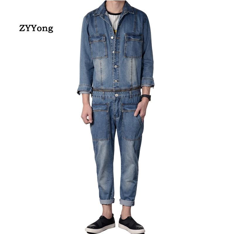 Men Denim Jumpsuit Overalls Blue Lapel Long-Sleeved Removable Waist Jacket Streetwear Straight Jeans Cargo Pants Casual Trousers