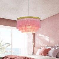 Большая розовая Люстра для девочек  для комнаты  фойе  спальни  креативная хлопковая нить  линия освещения  роскошная  для отеля  лобби  подве...