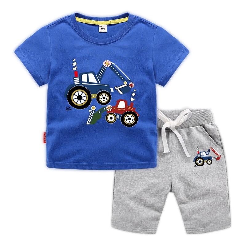 Baby Boys Kids Summer Short Sleeve Dinosaur Tracksuit Sport Suits Clothes Sets