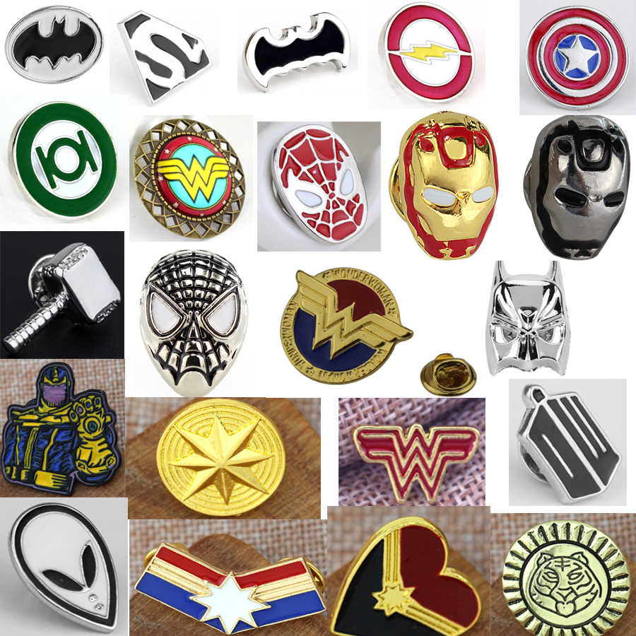 Baru DC Komik Super Hero Lencana Superman Logo Bros Perhiasan Film Sliver Plated Super Man Hero Tombol Bros Pin manset
