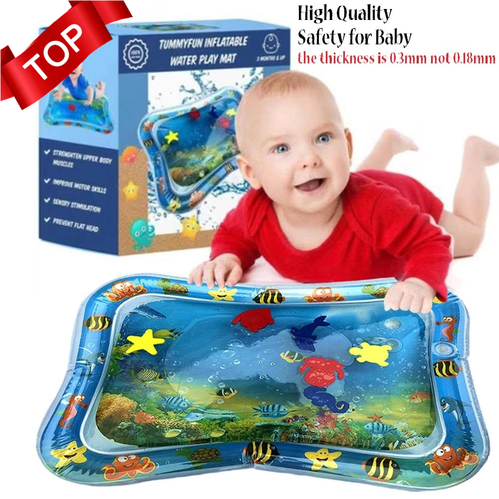 Inflatable Water Play Mat Infants Fun Tummy Time Kids Baby Play Activity Center