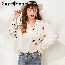 SuyaDream Women Printed Silk Blouses Turn Down Collar Long Sleeved White Blouse Shirt