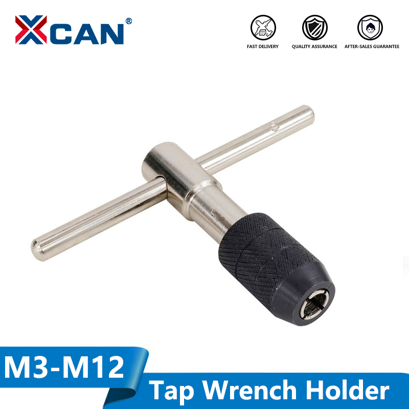 XCAN 1pc M3-M6(1/8-1/4) M5-M8(3/16-5/16) M6-M12(1/4-7/16) Adjustable T Type Tap Wrench Hand Tapping Tool Screw Thread Tap Holder