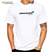 Cotton McLaren Tee Shirts Team F1 Logo Letter Print Short Sleeve T Shirt Male Formula 1 Game Tops