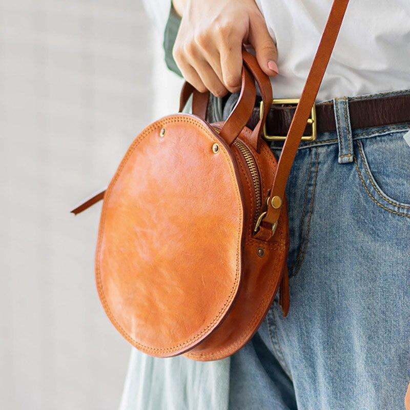 EUMOAN ручная кожаная маленькая круглая сумка, Ретро Милая художественная круглая коробка в форме сумки на плечо - 2
