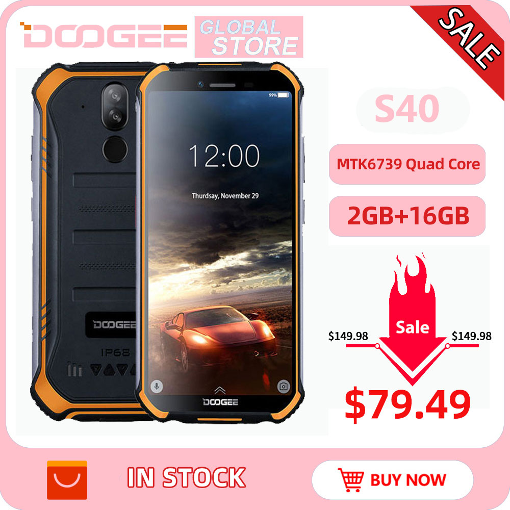 Upgrade 2GB+16GB DOOGEE S40 MTK6739 Quad Core Android 9.0 4G Network Rugged Mobile Phone IP68 5.5inch Display 4650mAh 8.0MP NFC