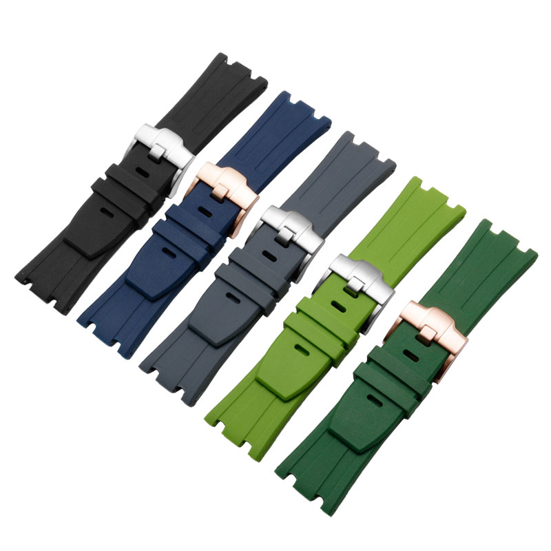28mm Waterproof silicone rubber <font><b>watch</b></font> <font><b>band</b></font> with stainless streel buckle adaptation <font><b>AP</b></font> <font><b>watch</b></font> strap special interface image