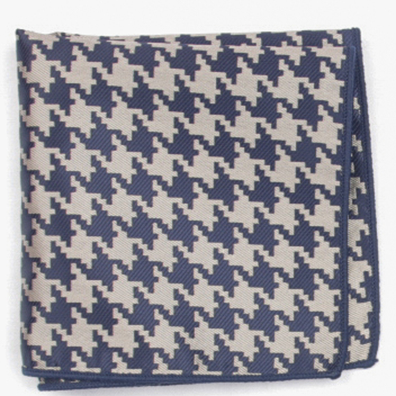 Dark Blue Houndstooth Patterned Pocket Square With Patterns Handkerchief