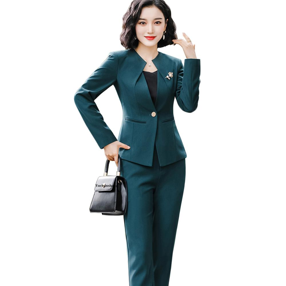 Women Elegant Work Pant Suit 2020 New Fall Winter Green Black 2 Piece Set One Button O-Collar Blazer Jacket And Pant