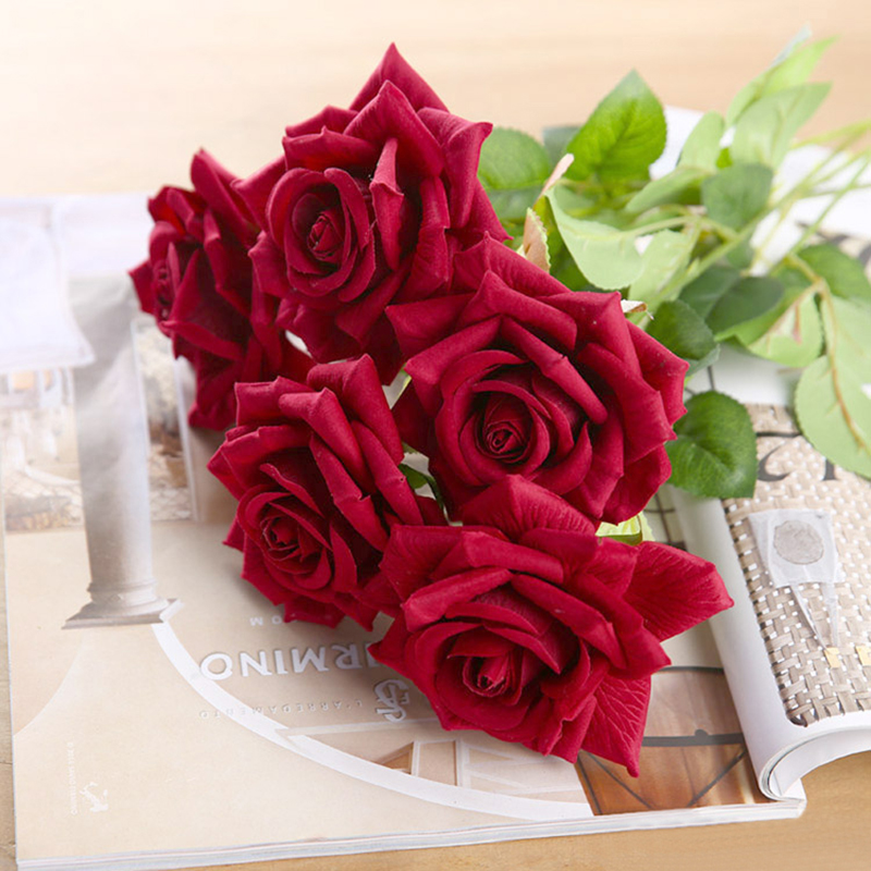 CHENCHENG 11 Pieces / Lot Silk Fake Black Red Rose Branch Artificial Flowers For Decorating Home Party Wedding Gift Fall Decor