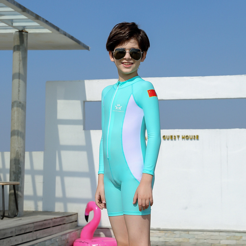 KID'S Swimwear Korean-style Medium-small BOY'S Big Boy Long Sleeve Sun-resistant Warm One-piece Boxer Swim Bathing Suit