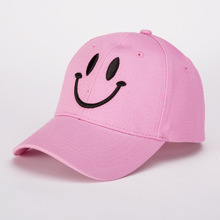 Korean version of fashion cotton baseball cap lady casual smiling face solid color hat spring and summer outdoor sunshade cap