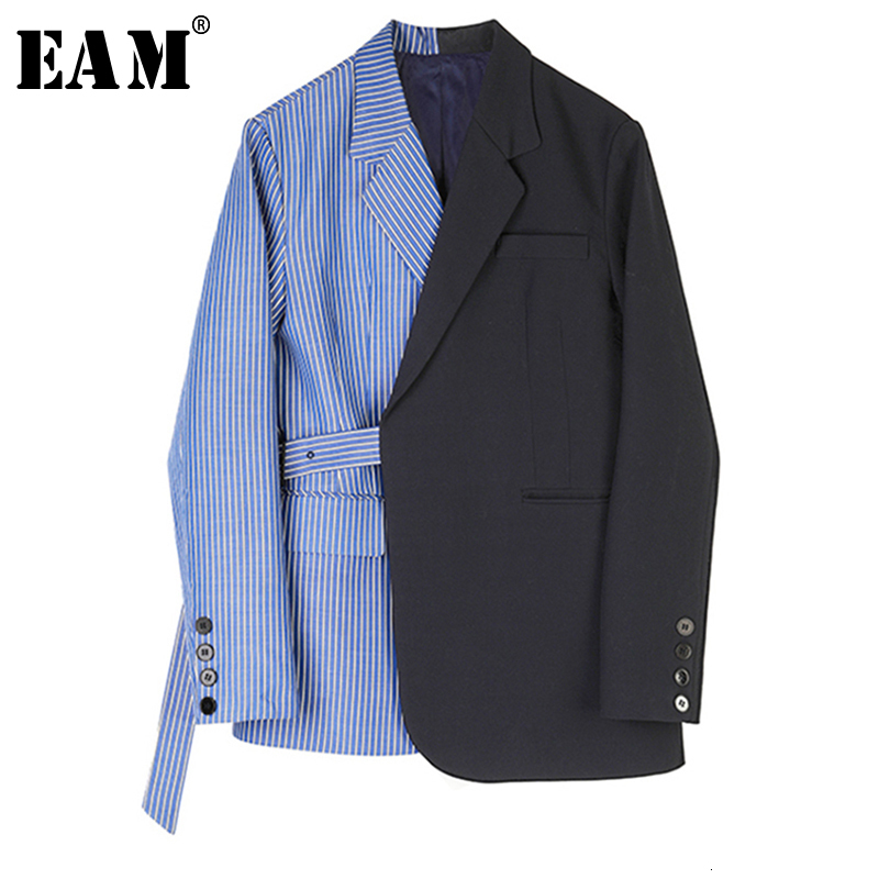 [EAM]  Women Striped Spliced Mixed Color Blazer New Lapel Long Sleeve Loose Fit  Jacket Fashion Tide Spring Autumn 2019 1B766