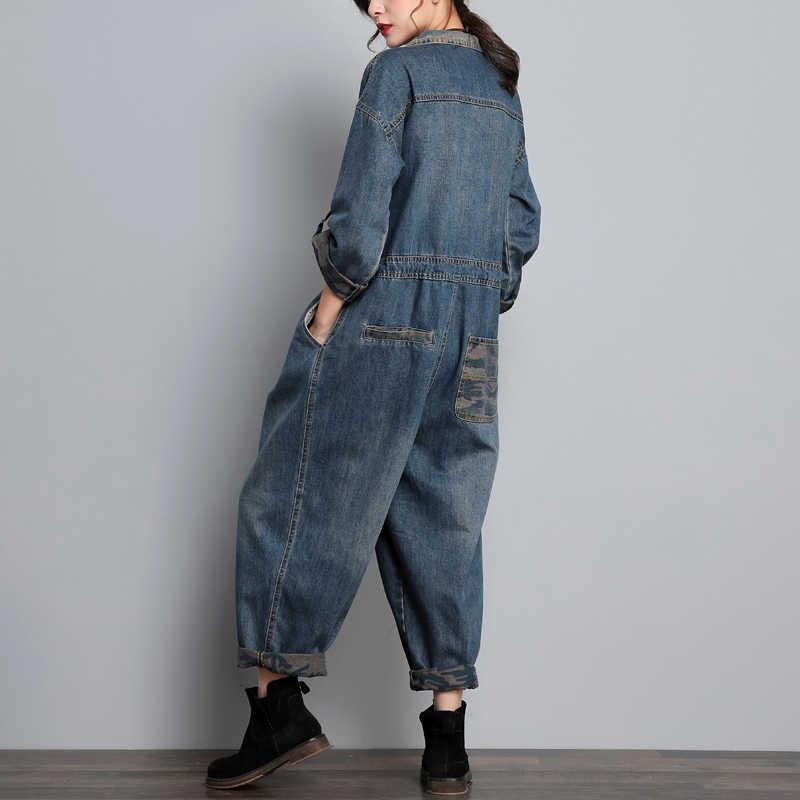 Mulheres Largas calças Perna Larga Macacão Jean Blazer estilo Cowboy Manga Longa Uma Peça Virilha Queda Global Original Europa Denim Macacão