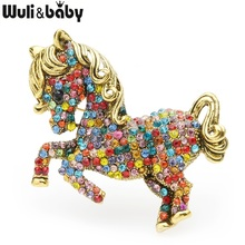 Wuli&baby Green Multicolor Rhinestone Horse Brooches Women Alloy Vintage Animal Brooch Pins Gifts