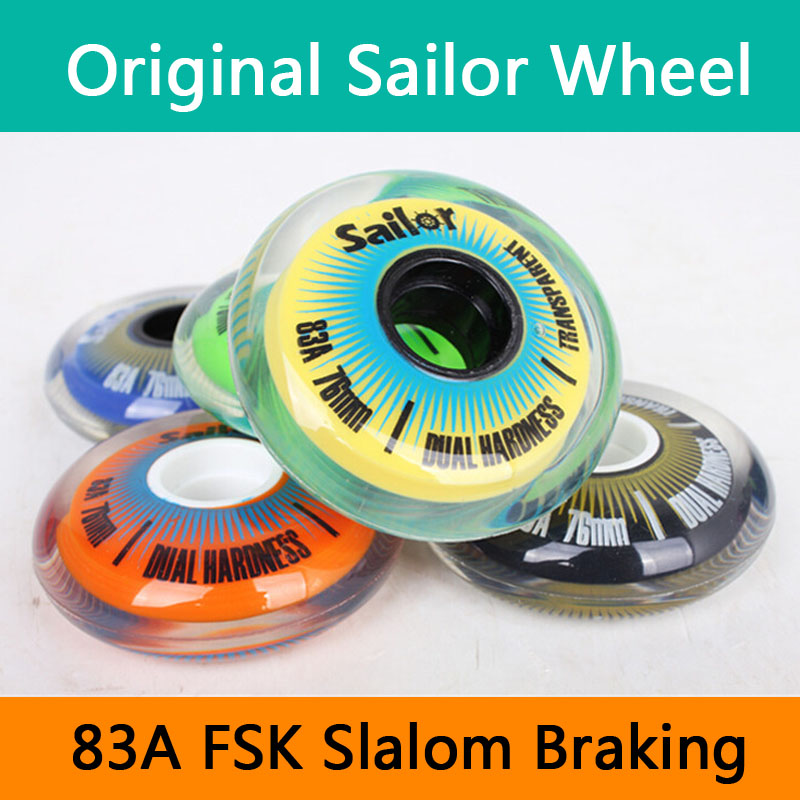 [72mm 76mm 80mm] Original Sailor Inline Skates Transparent Wheel 83A FSK Slalom Braking Punny Roller Skates Wheels For SEBA RB