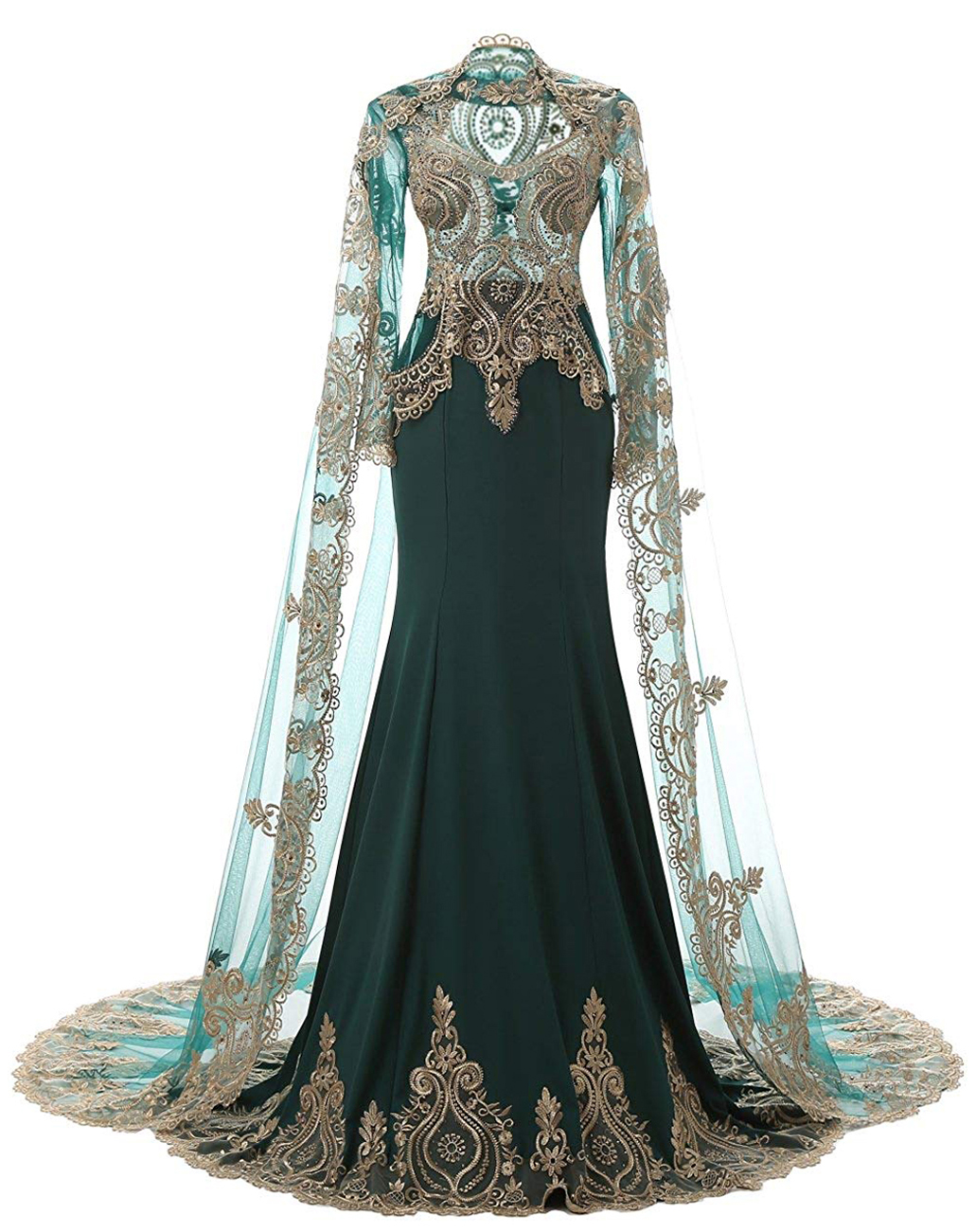 Real Photo High Neck Rhinestone Queen Mermaid Prom Dress Elegant Long Sleeve Lace Evening Dresses With Shawl
