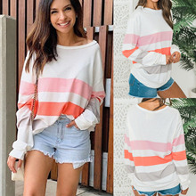 2019 New Arrivals Women Tops Shirts Fashion Casual  Long Sleeve O Neck Pink Striped Patchwork Tshirt