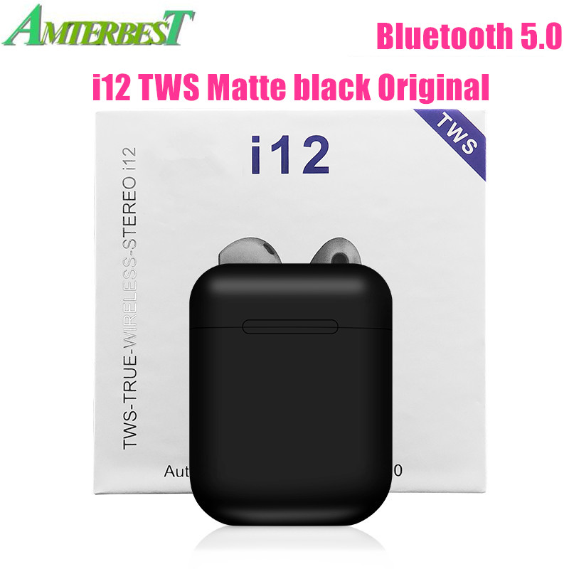 AMTERBEST I12 TWS Touch Control Mini Wireless Bluetooth 5.0 Earphones Stereo Headset Pk I10 I11 Tws for Android IOS Smart Phone