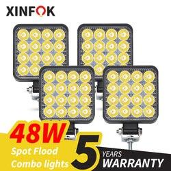 Car LED Work Light Flood Spotlights 3030 SMD 27 Watts 48 Watts DC 12-24 Volts Truck 4x4 4WD